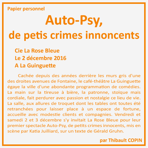 Auto-Psy, de petits crimes innoncents par Thibault Copin