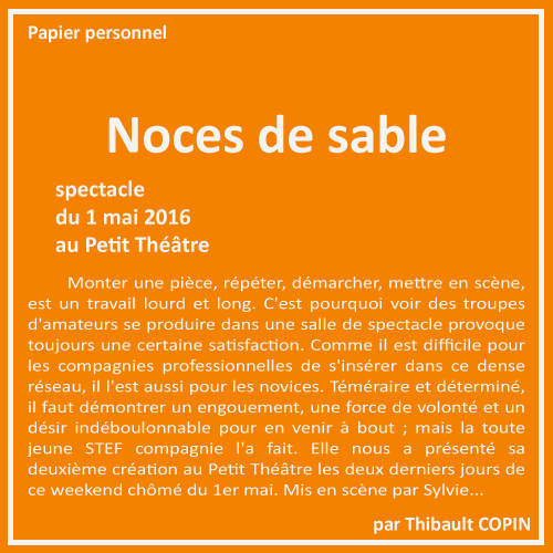 Noces de sable par Thibault Copin